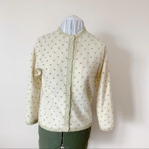1960s wool cardigan with green French knots.